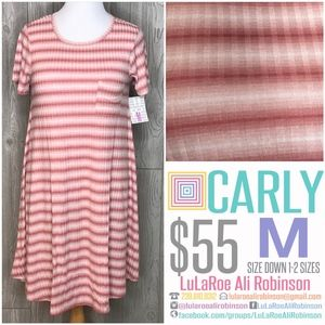 LuLaRoe Carly - Size M - Pink & White Stripes